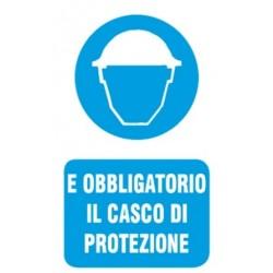 CARTELLO 'E' OBBLIGATORIO IL CASCO DI PROTEZIONE' - CM. 20 X 30