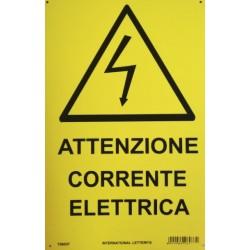 CARTELLO 'ATTENZIONE CORRENTE ELETTRICA' - CM. 20 X 30
